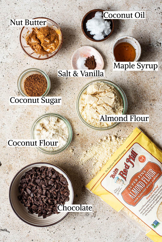 Vegan cookie dough ingredients.