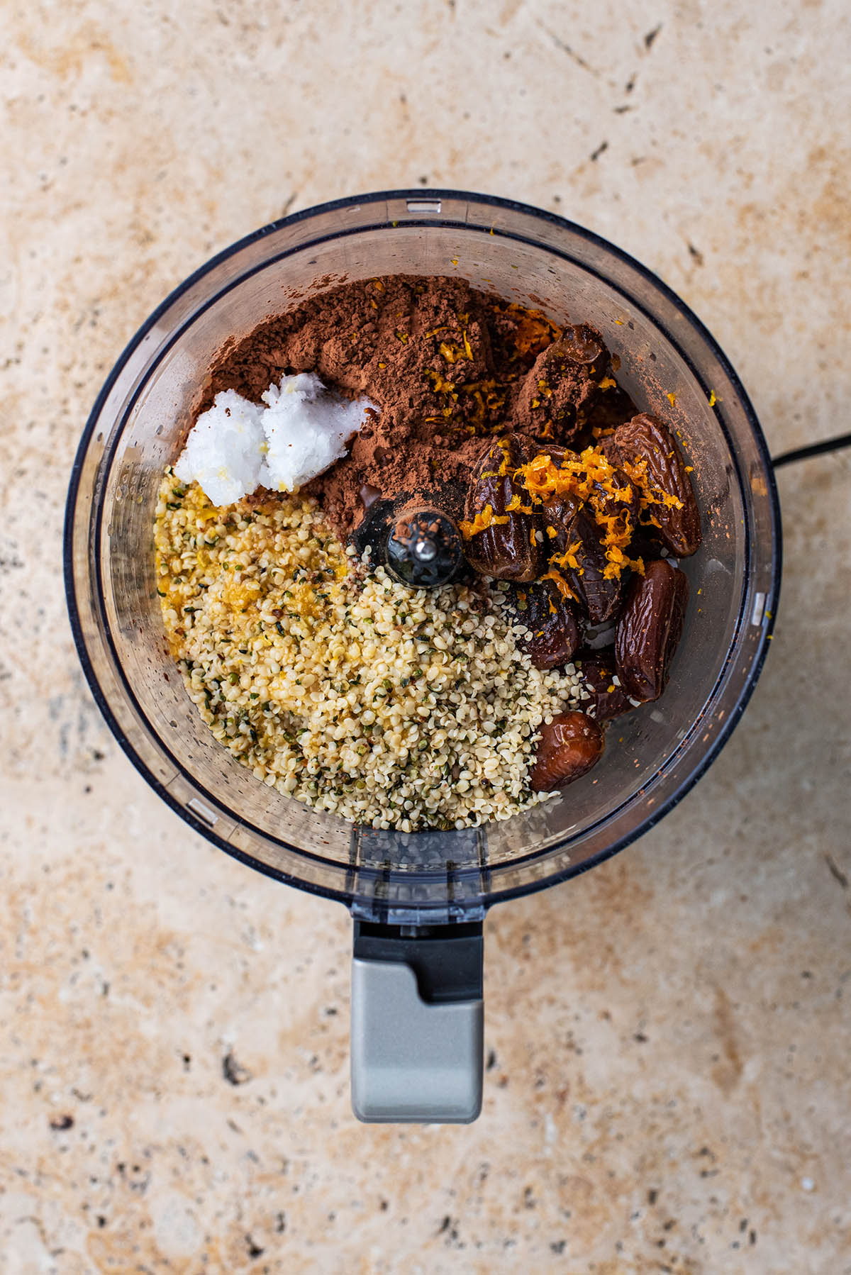 Ingredients added to a food processor.