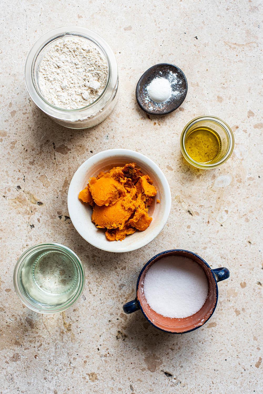Sweet potato flatbread ingredients.