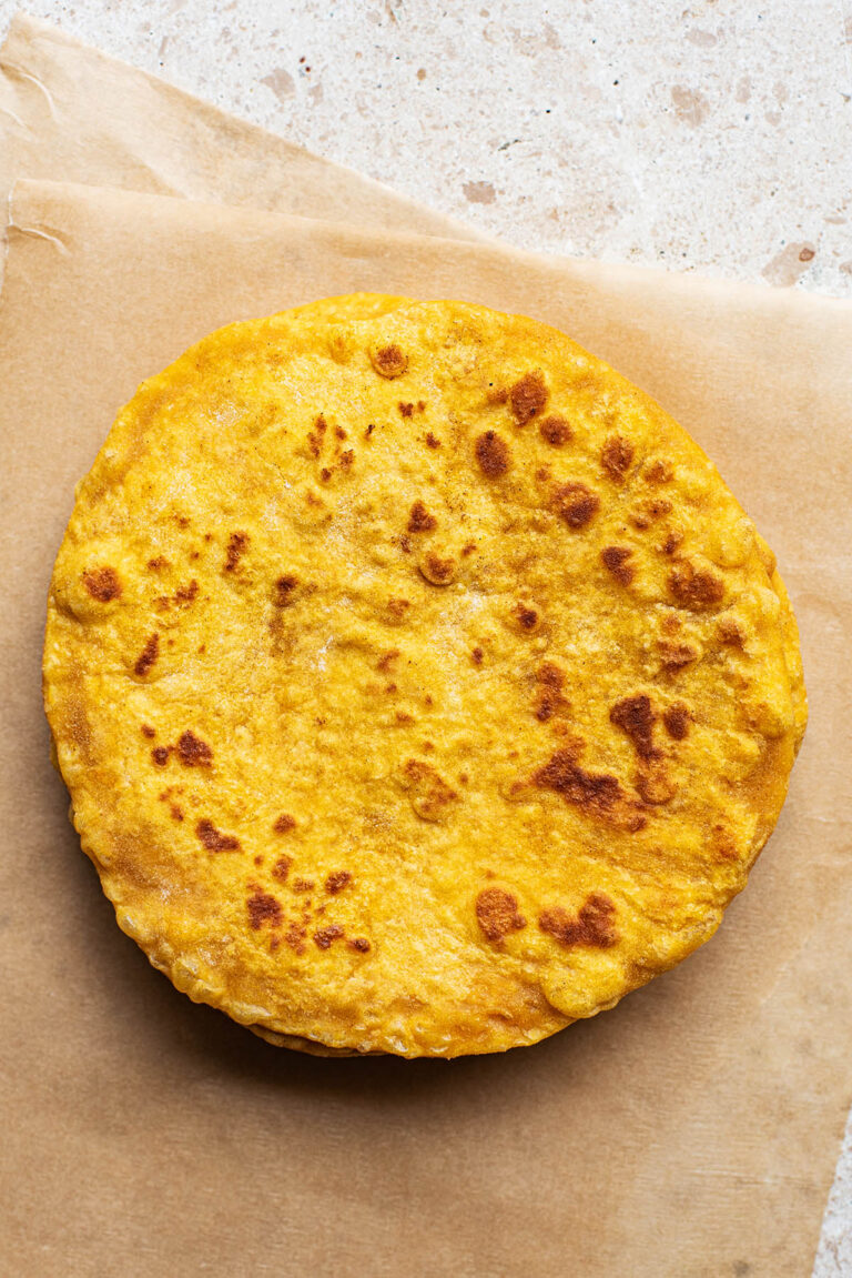 Top down view of a stack of flatbreads.