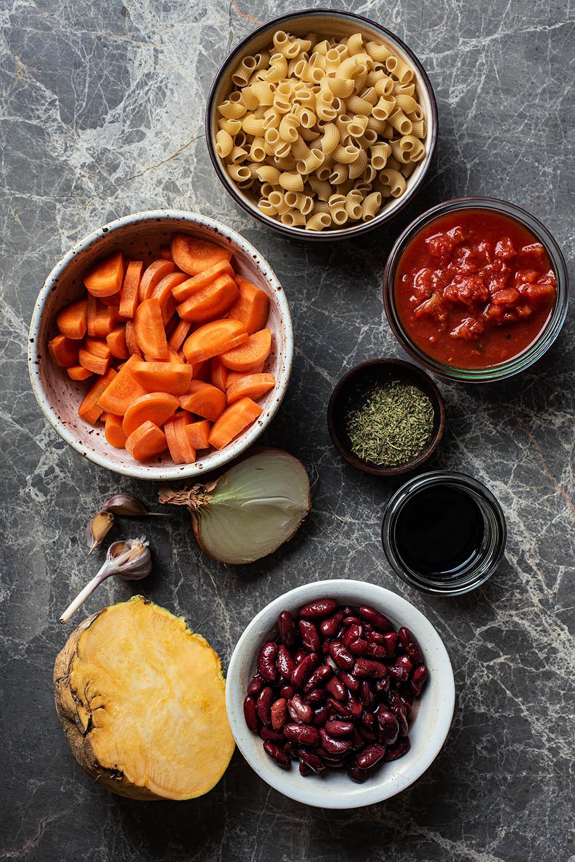 Winter minestrone ingredients.