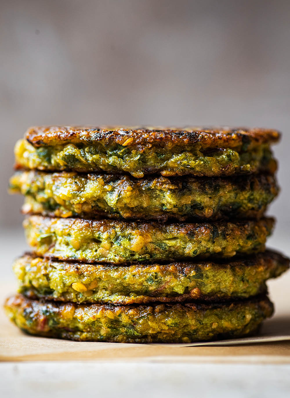 Close up of a stack of lentil patties.