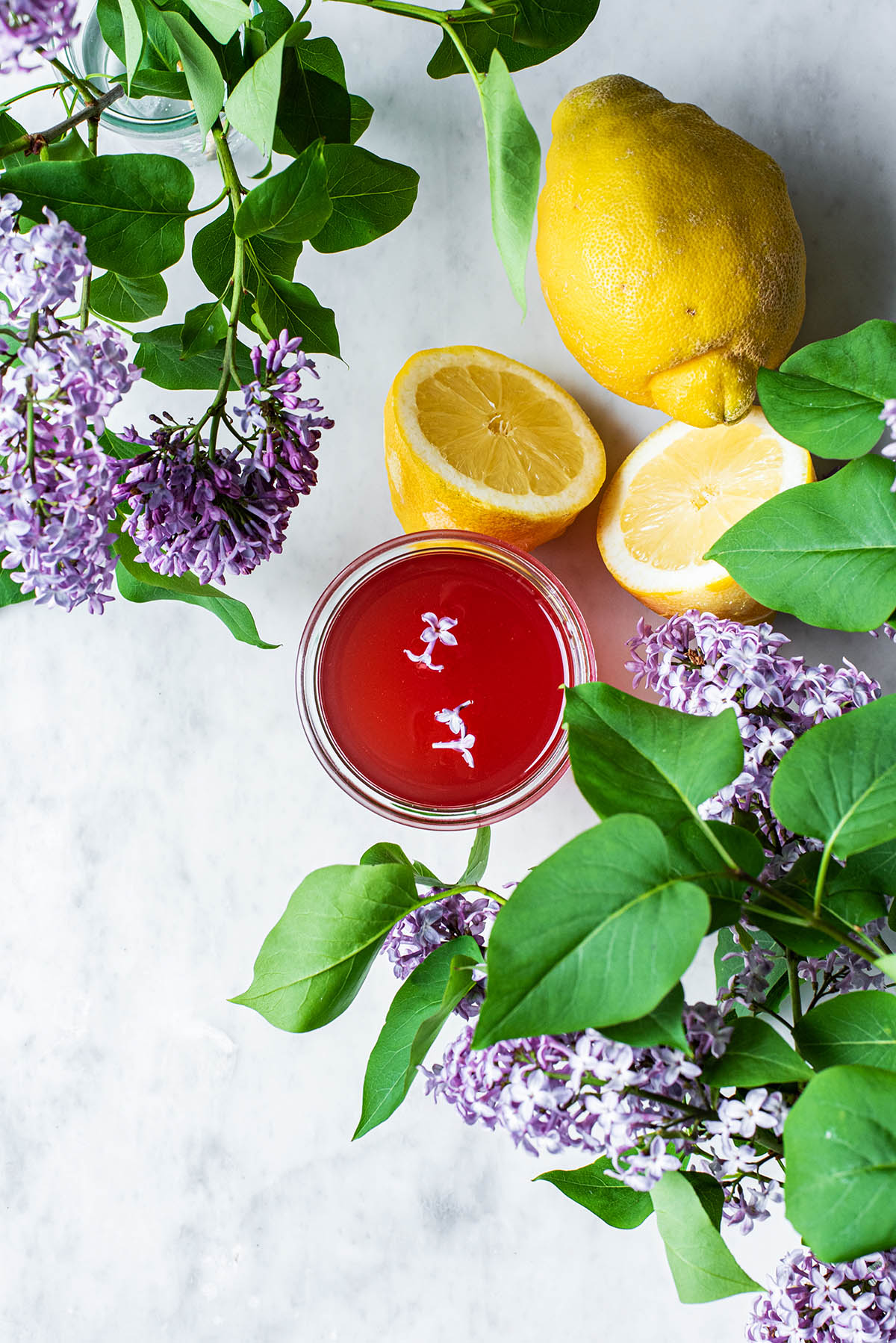 Lilac Lemonade ingredients.