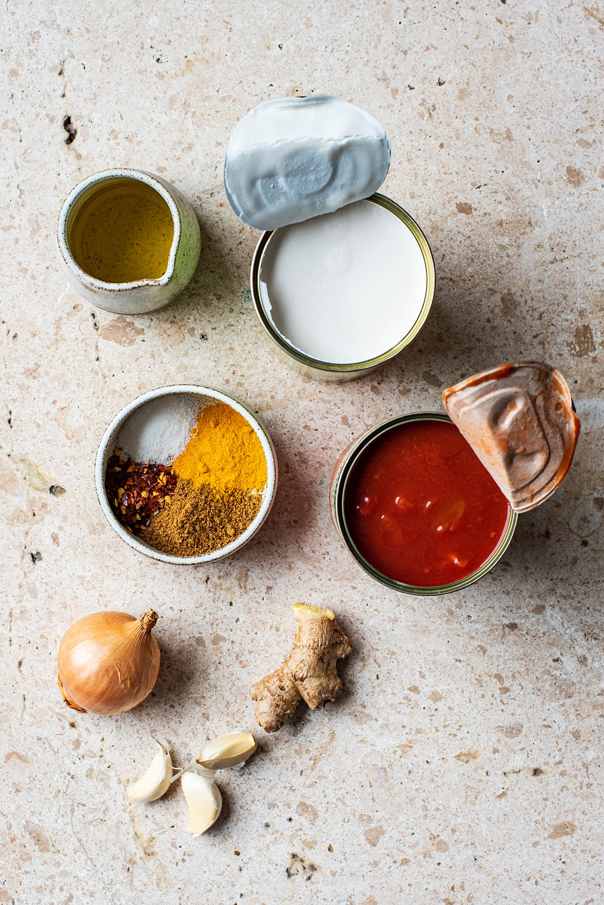 Spicy tomato soup ingredients.
