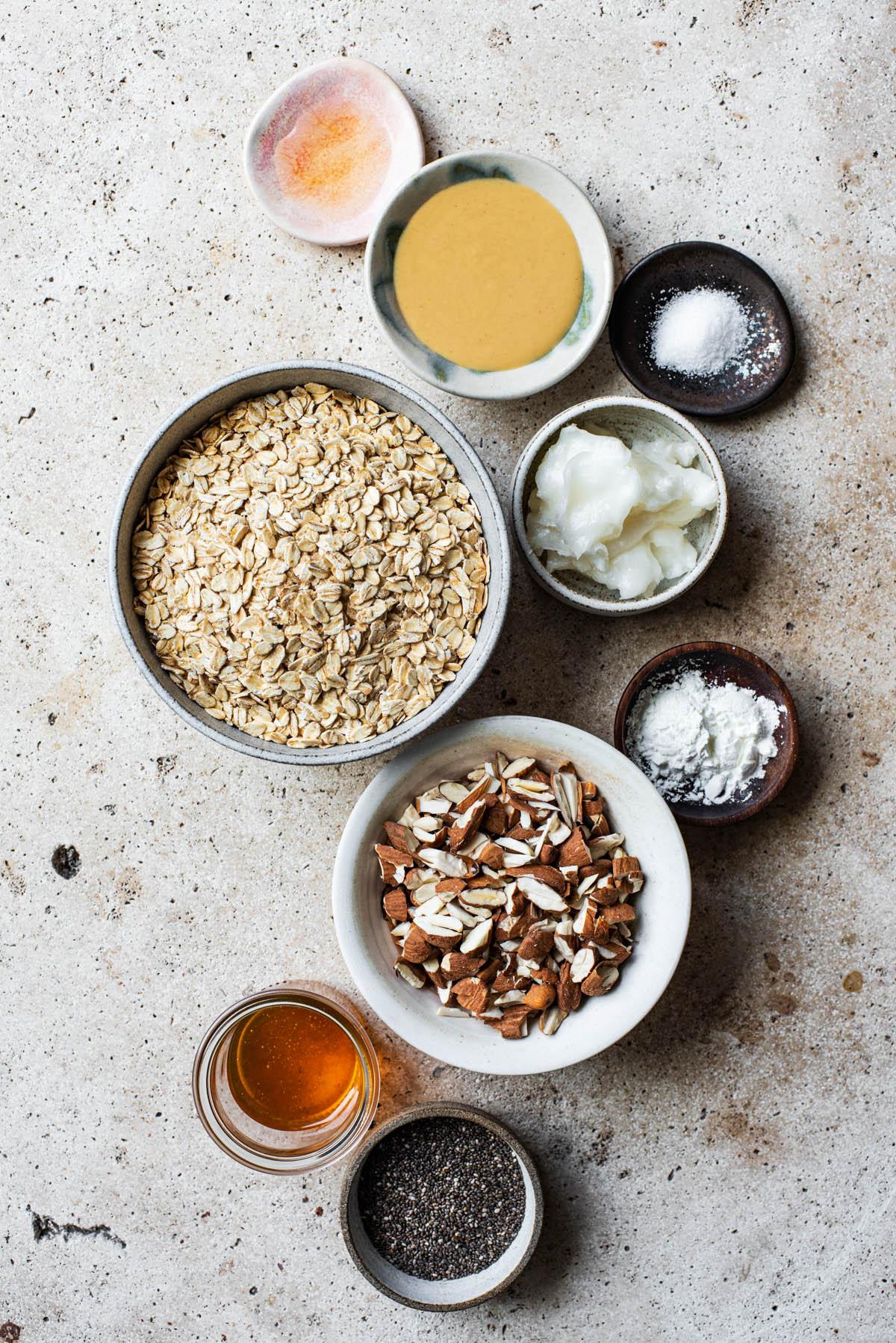 Almond butter granola ingredients.