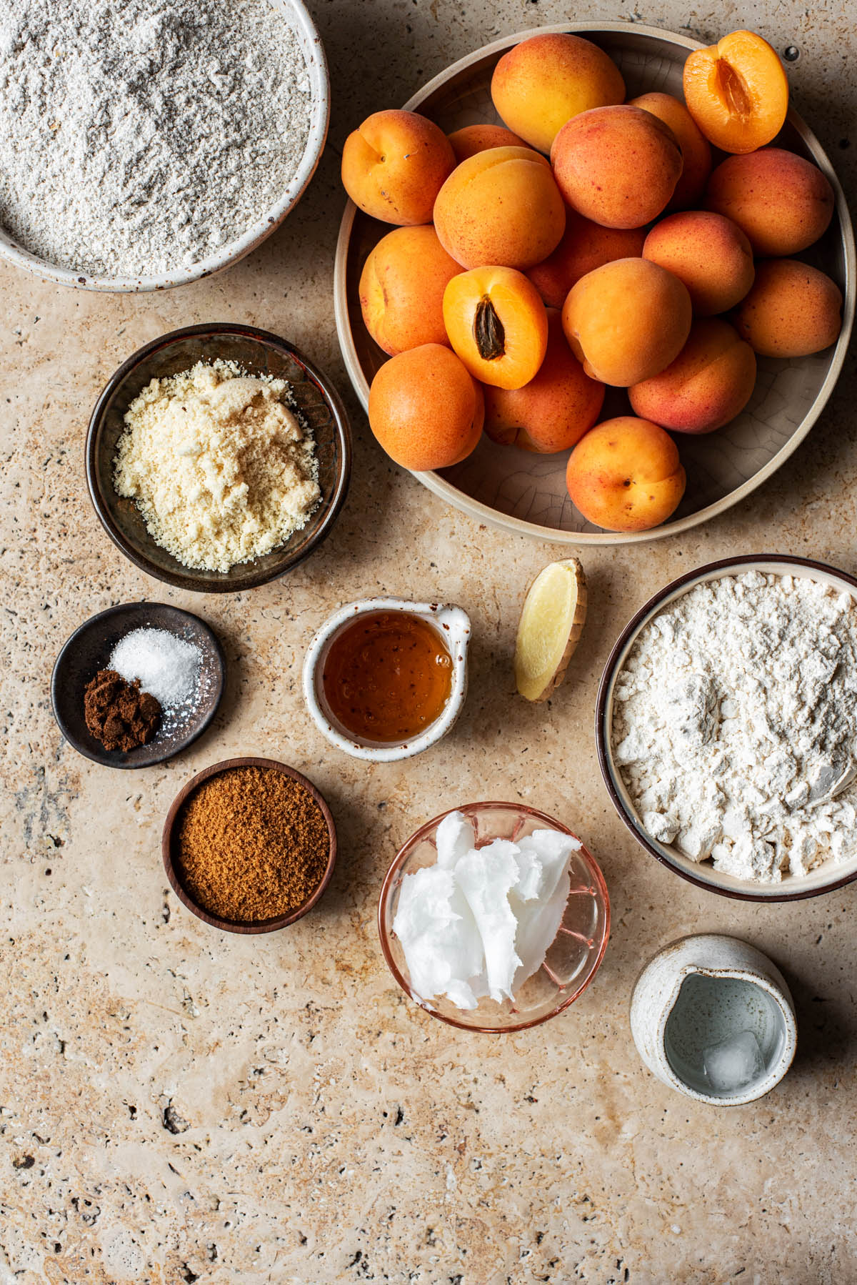 Apricot galette ingredients.