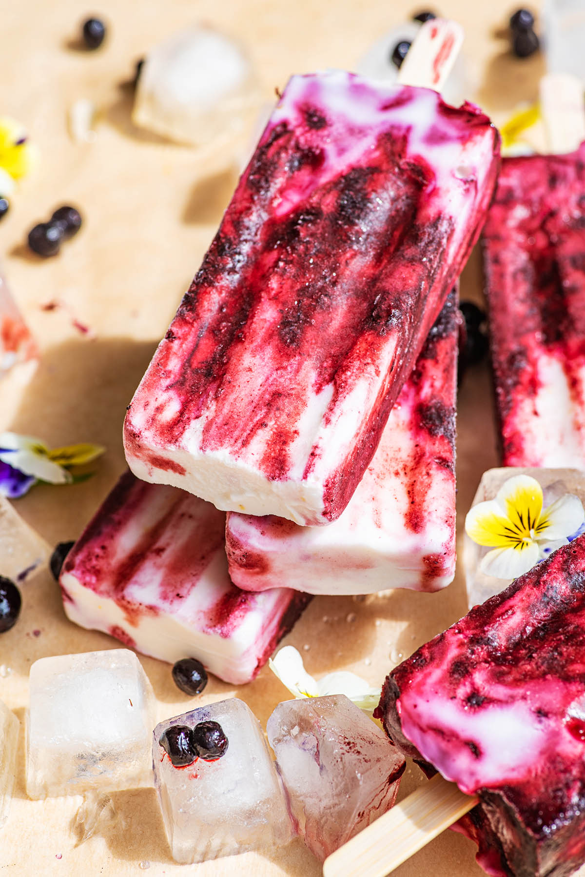 Close up of a stack of three popsicles.