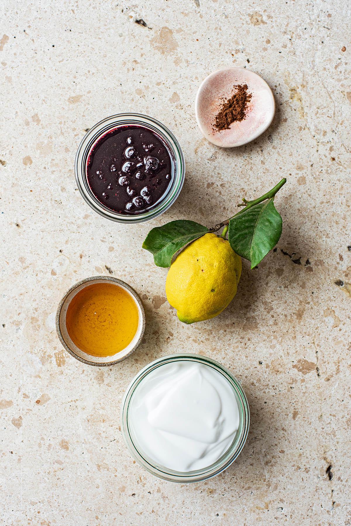 Creamy Lemon Blueberry Popsicle ingredients.