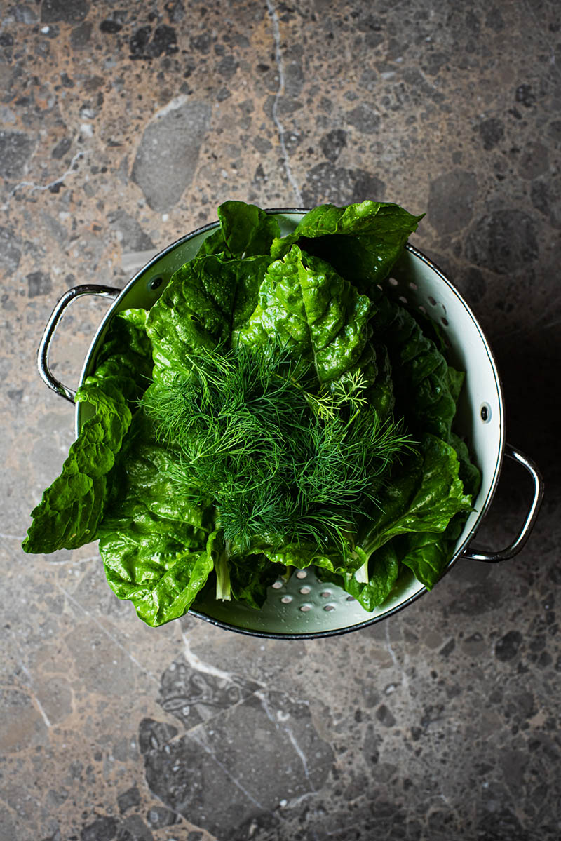 Chard and herbs in a white colander.