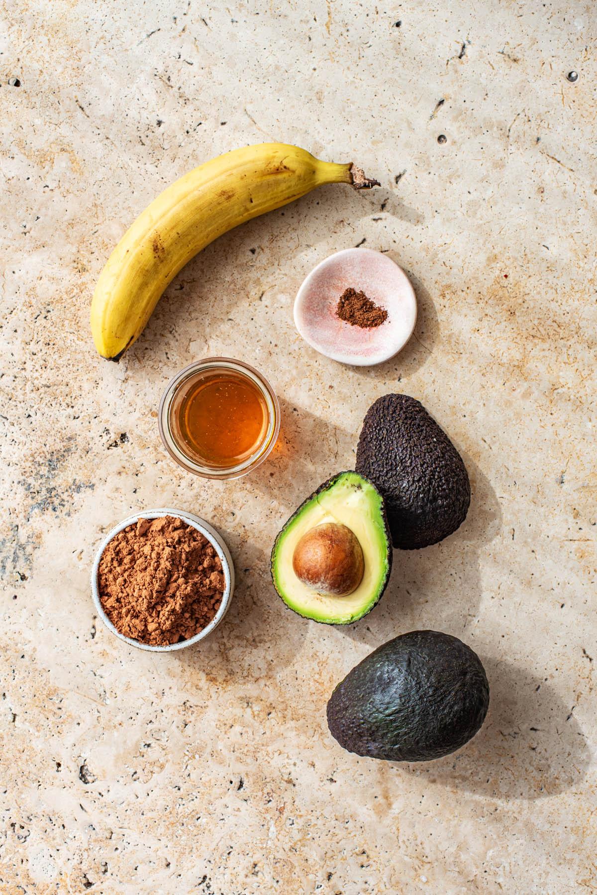 Chocolate Avocado Fudgesicles Ingredients.