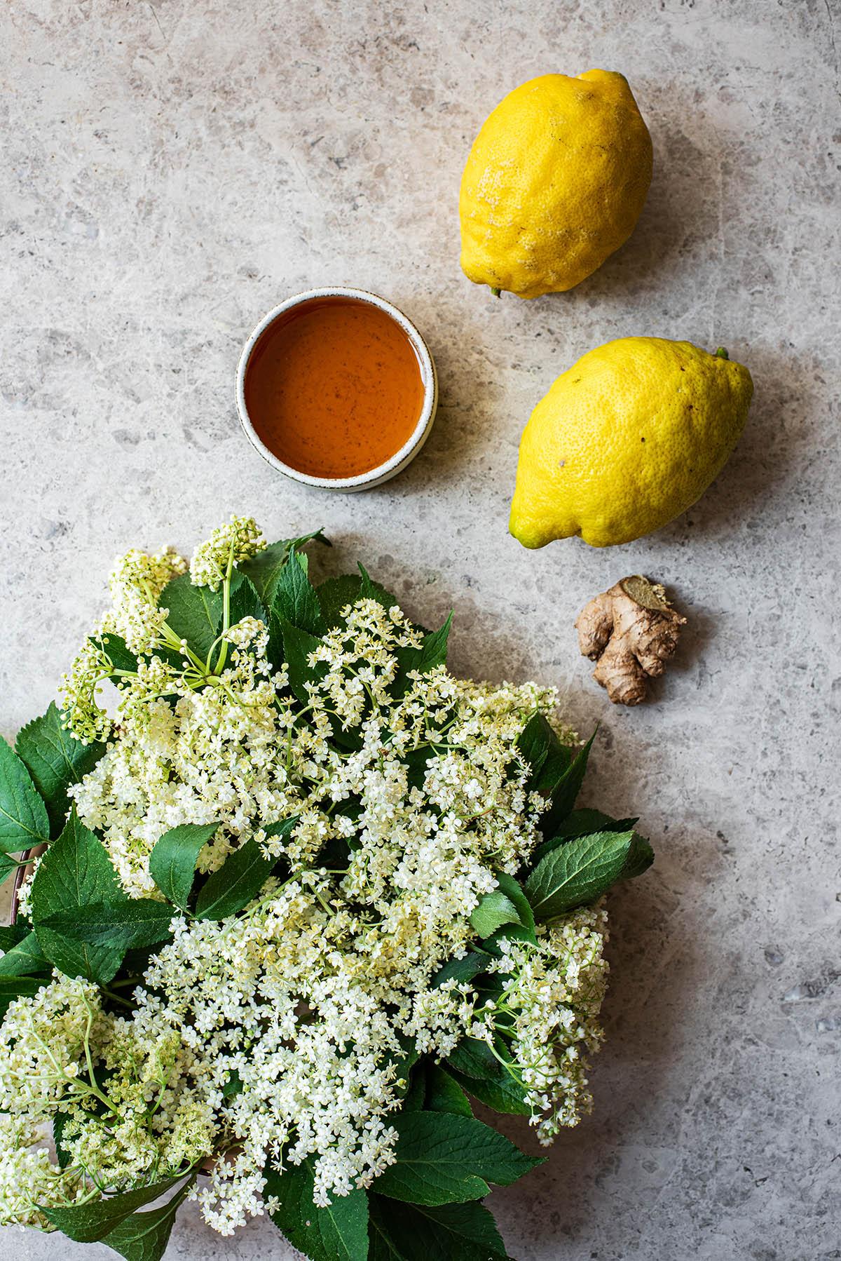 Lemon Elderflower popsicles ingredients.