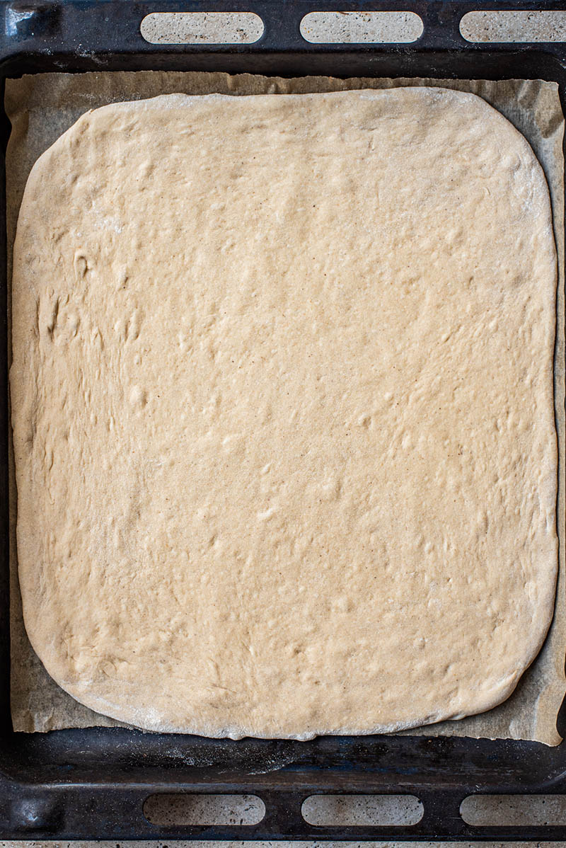 Rolled out cake dough.