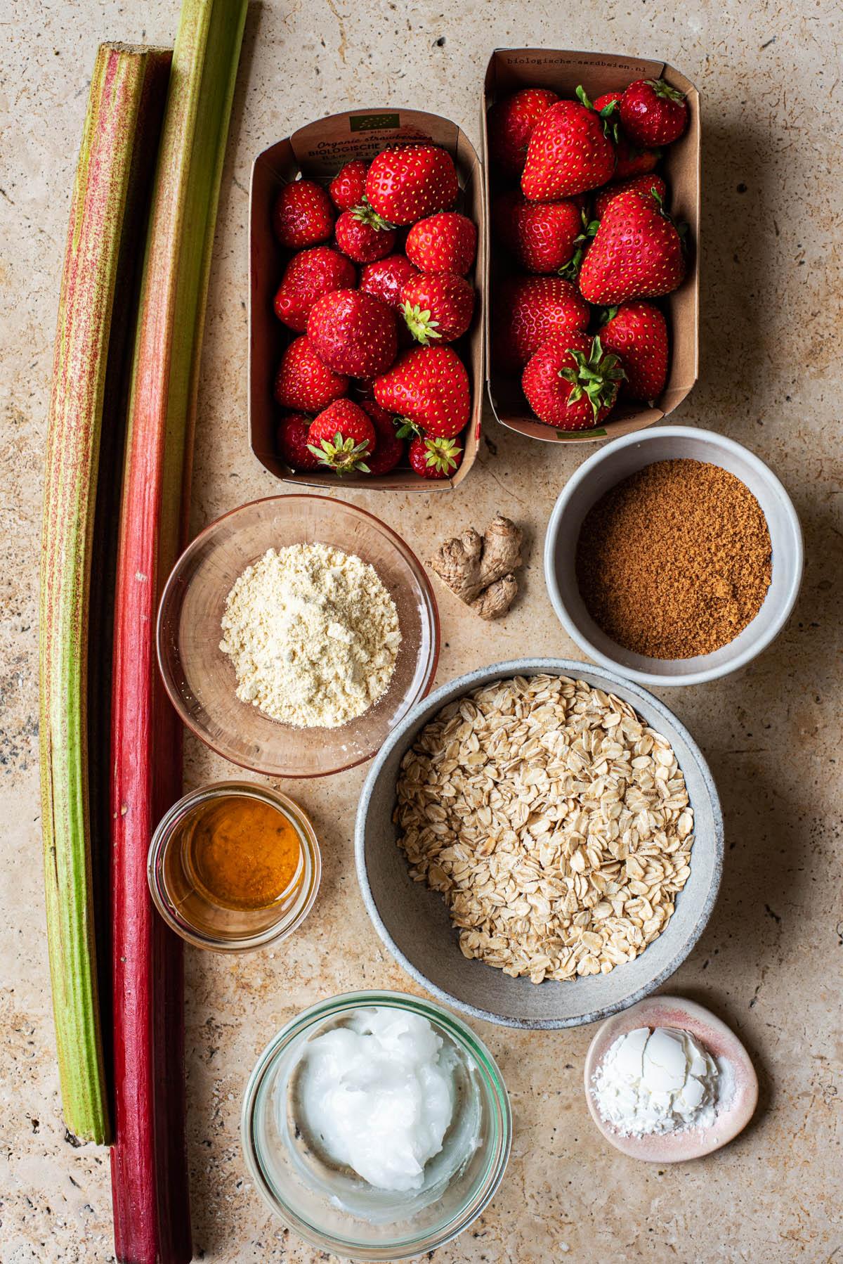 Strawberry rhubarb crisp ingredients.
