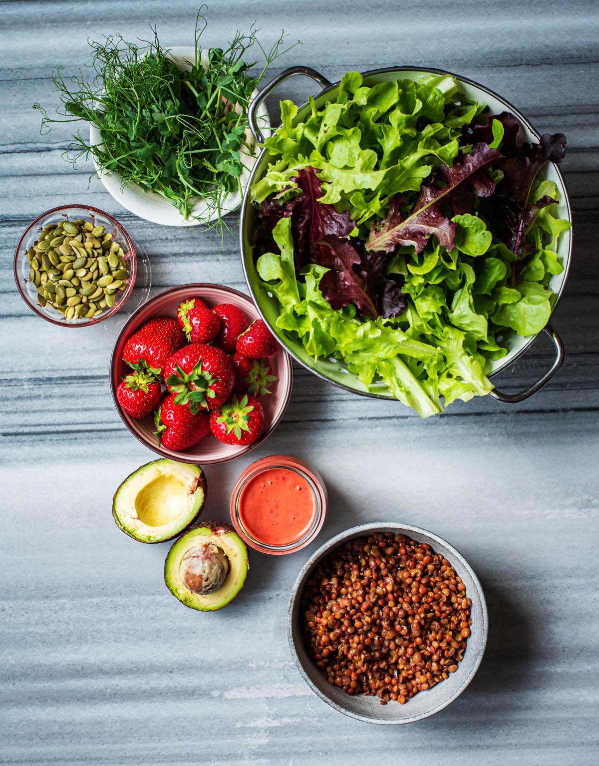 Summer Strawberry Salad ingredients.