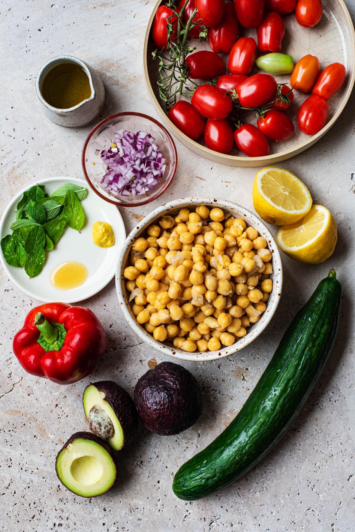 Greek Chickpea Salad ingredients.