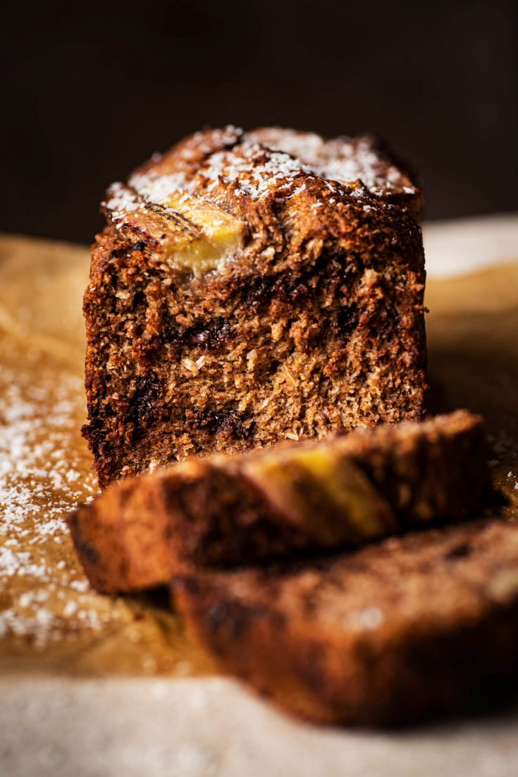 Front view of sliced banana bread.