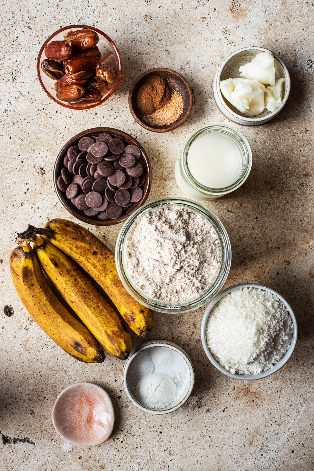 Coconut banana bread ingredients.