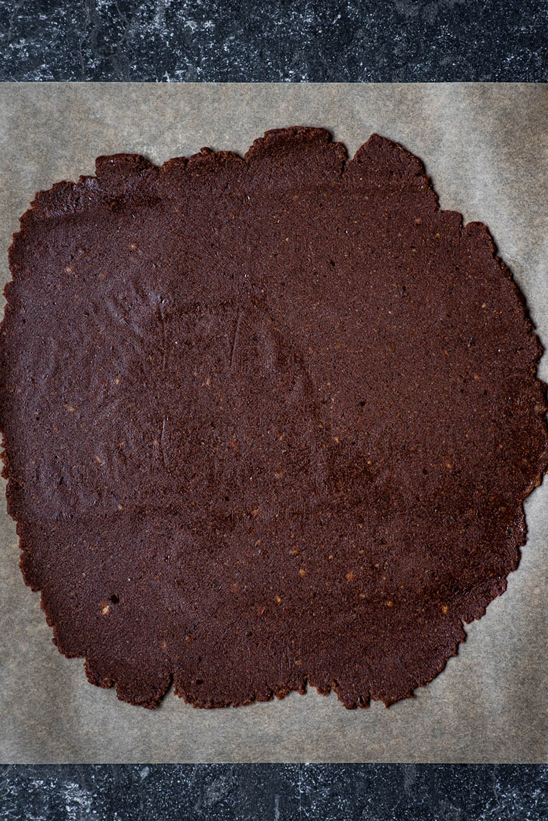 Brownie base after rolling out.