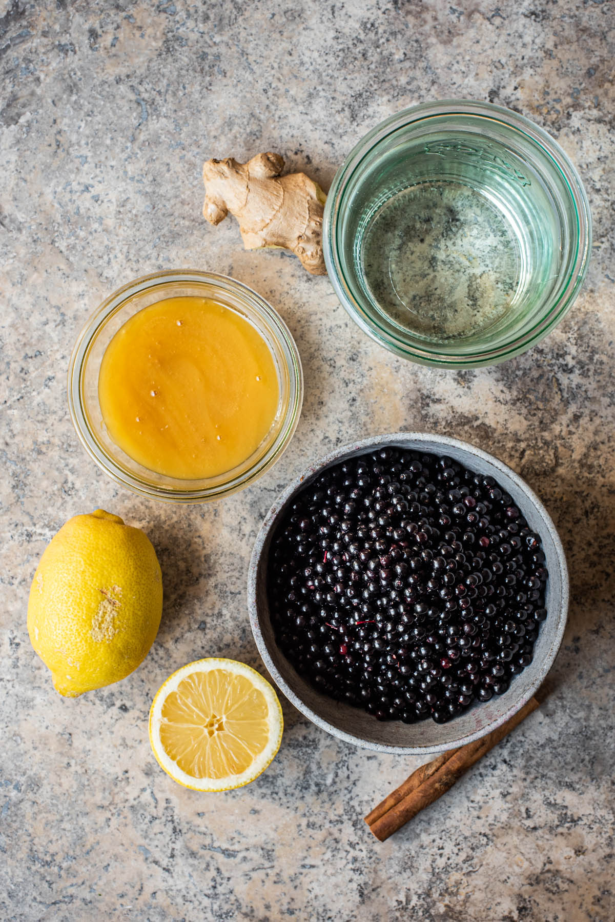 Elderberry syrup ingredients.