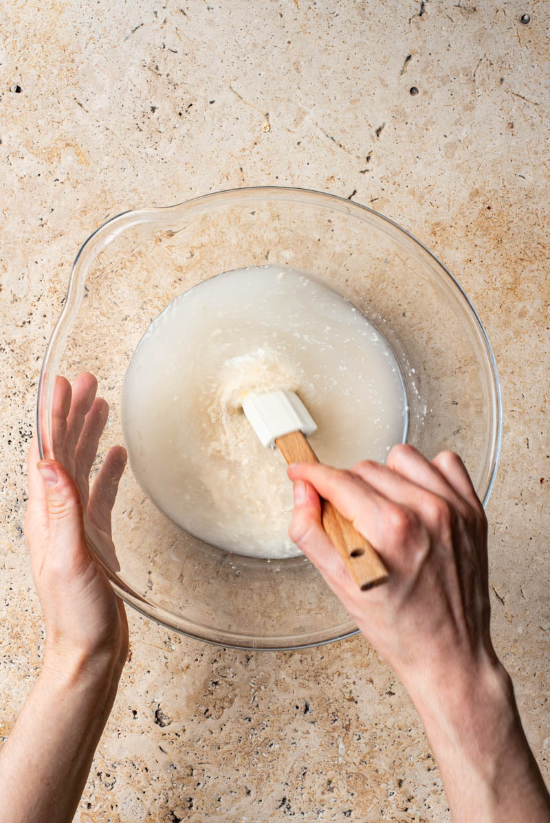 Mixing the wet ingredients in a large mixing bowl.