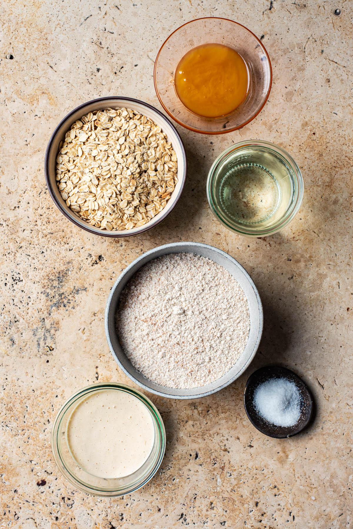 Honey and oat sourdough spelt bread ingredients.