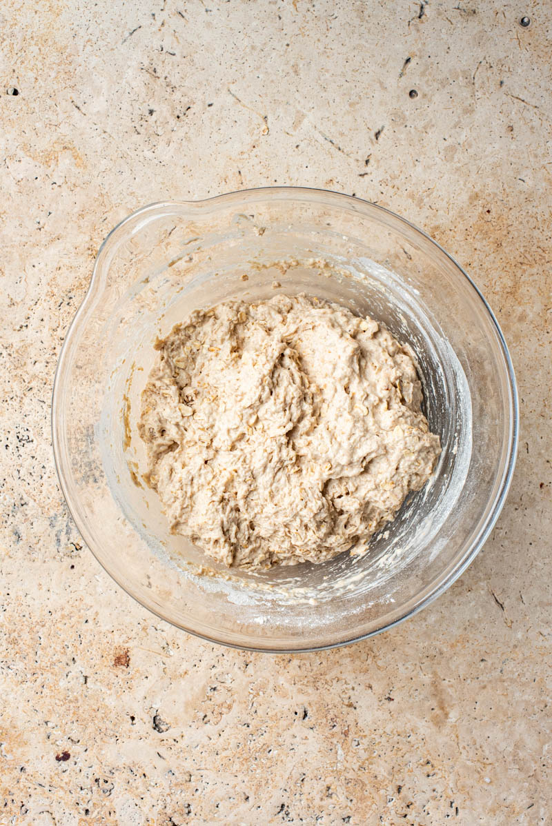 Dough after mixing, shaggy and unformed.