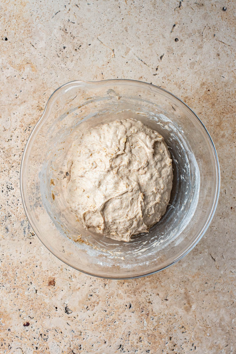 Dough after stretching and folding, in a rough sphere.
