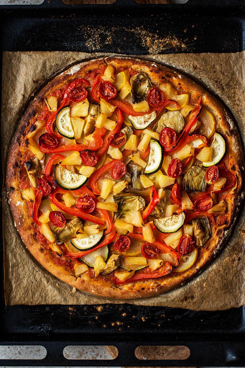 Sourdough pizza afer baking.