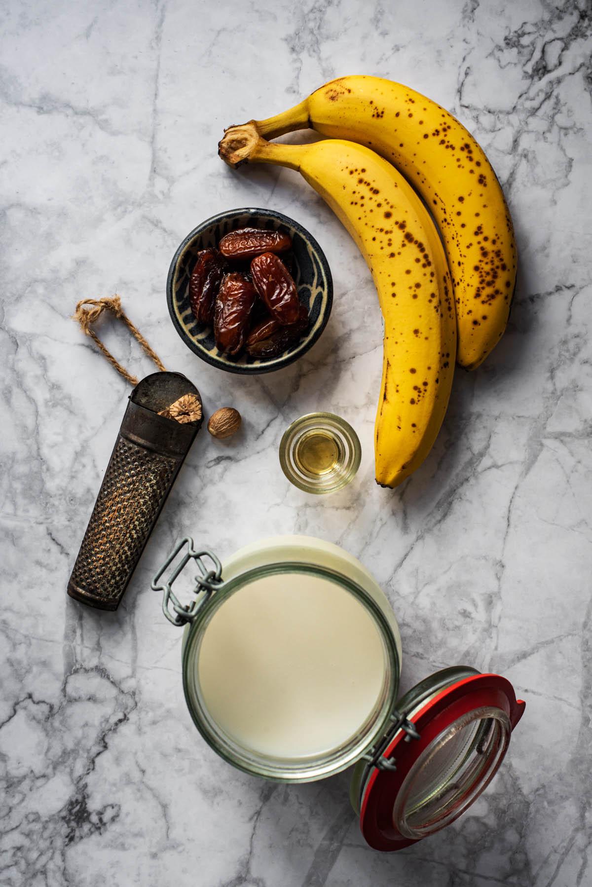 Vegan banana milkshake ingredients.