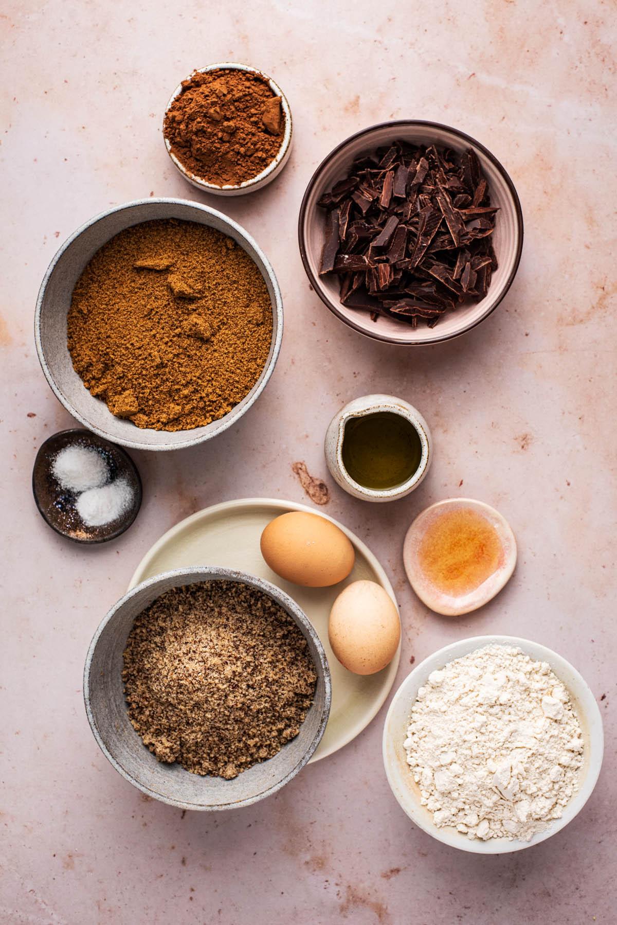 Olive oil brownies ingredients.