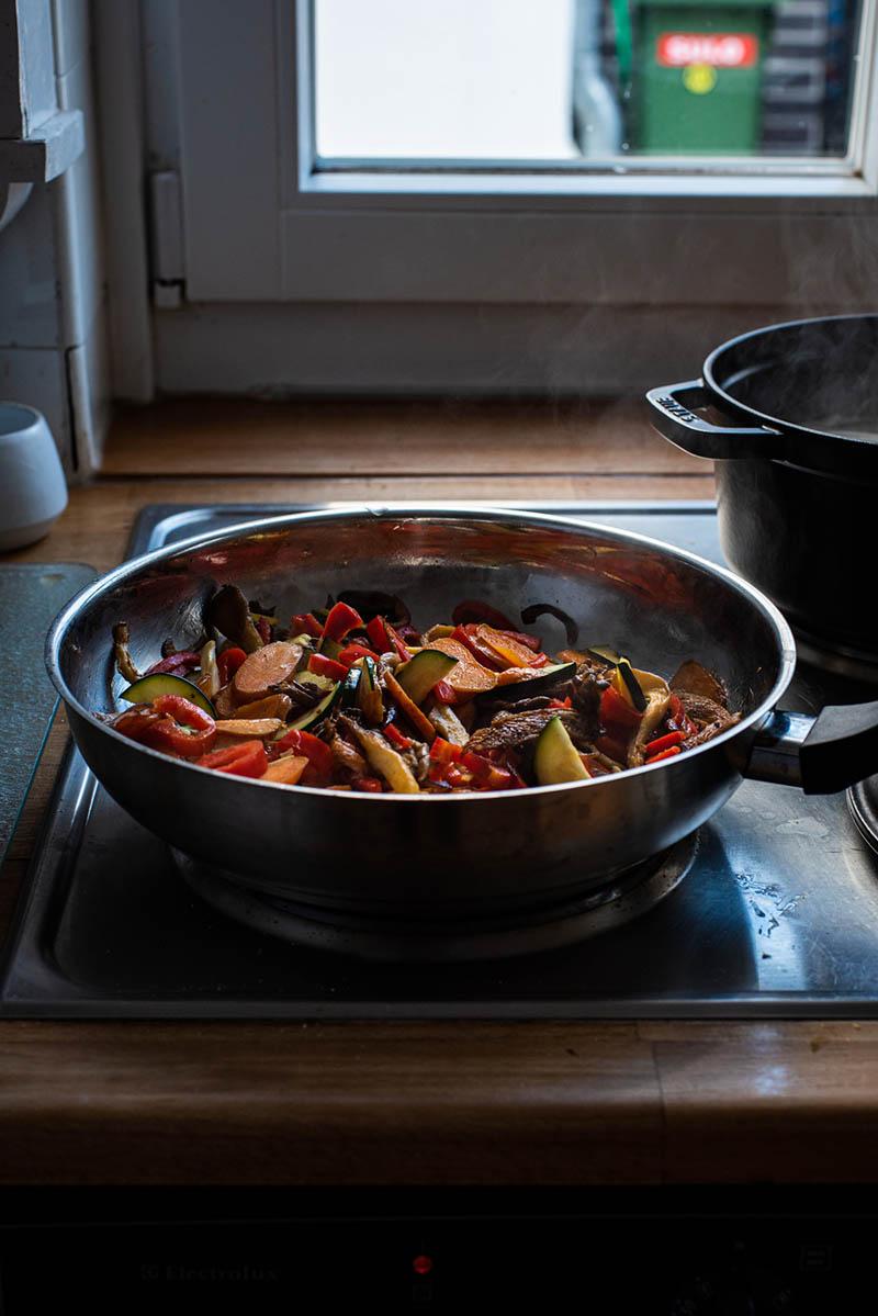 Finished stir fry vegetables.