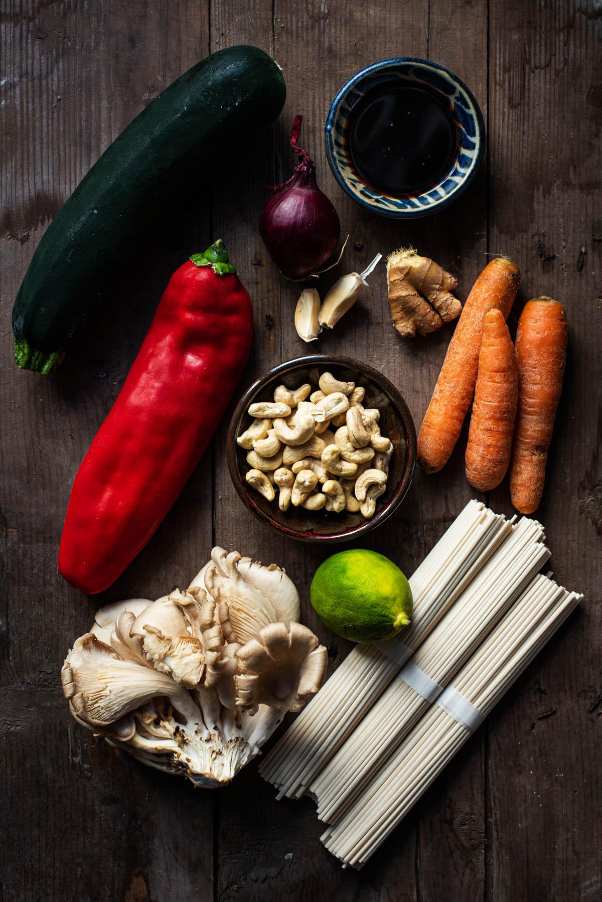 Udon noodle stir fry ingredients.