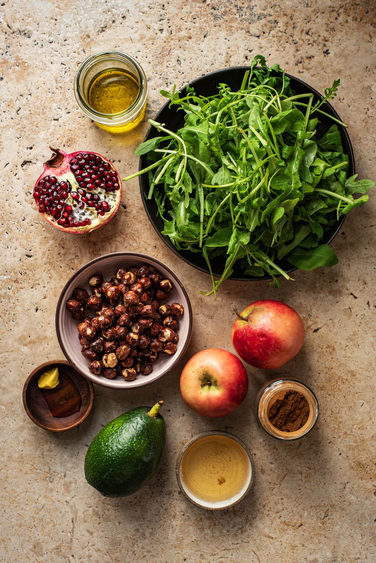 Apple salad ingredients.